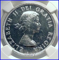 1953 CANADA UK Queen Elizabeth II Canoe Large Silver Dollar Coin NGC i77267