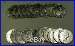 1963 Roll of Canadian Dollar Coins BU Brilliant Uncirculated 80% Silver 20 Total