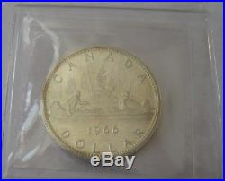 1966 Canada Silver Dollar Small Beads ICCS MS64 Extremely Rare Gem Coin