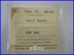 1966 Canada Silver Dollar Small Beads MS64 Extremely Rare Coin