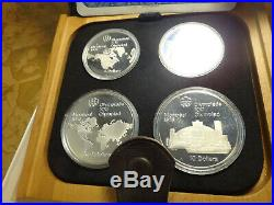 1976 Canada Montreal Olympic Silver 4-Coin Proof Set with Box & COA Free S&H USA