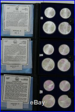1976 Canada Olympic Silver Coin Set of 28 Coins / 7 Books with COA Series 1-7