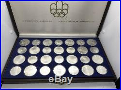 1976 Silver Canadian Montreal Olympic Games Set 28 Coins original leather box