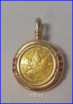 1993 Canada 1/10 oz Gold Maple Leaf Queen Elizabeth II Coin Pendant