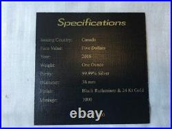 1 OZ SILVER Dollar Canadian Cougar BLACKOUT COLLECTION RUTHENIUM 24K w coa