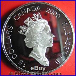 2000 CANADA $15 1oz SILVER PROOF GOLD DRAGON LUNAR RARE GOOD LUCK CANADIAN COIN