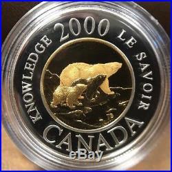 2000 Canada Millennium $2 Polar Bear Bimetallic Gold & Silver Coin Withbox &coa
