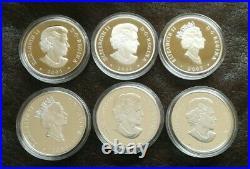 2003 2005 Canada Natural Wonders Rocky Falls Borealis Iceberg Silver 6 Coin SET