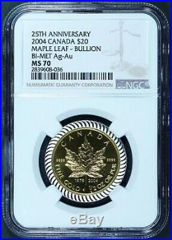 2004 Canada $20 25th Ann Maple Leaf 1/2 oz. 9999 Gold Coin with Silver NGC MS 70
