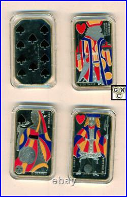 2008-2009 Playing Card Colorized Proof $15 Sterling Silver Coins set of 4 (OOAK)
