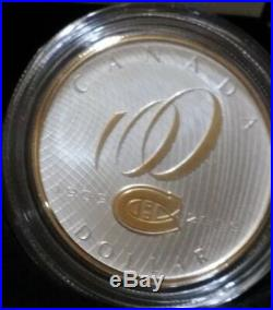 2009 $1 Silver proof coin MONTREAL CANADIANS HABS 24KT GOLD GILD (NO stand)