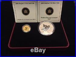 2010 Canada Piedfort Reverse-Proof 1oz Silver & 1/5oz Gold Set of 2 Coins