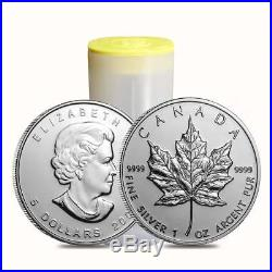 2010 Canadian Mint Roll of 25 1. Oz Silver Maple Leaf Coins