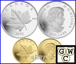 2010 Set 2 Piedfort Reverse-Proof Coins 1oz Silver & 1/5oz Gold ML. 9999(12728)NT