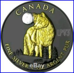 2011 1 Oz Silver CANADIAN WOLF Ruthenium Coin WITH 24K GOLD GILDED
