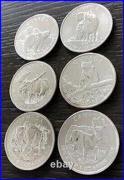 2011,2012 & 2013 CANADA WILDLIFE SERIES 1 OZ. 9999 FINE SILVER COINS (Set Of 6)