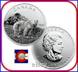 2011 Canada 1 oz Silver Maple Leaf Grizzly Roll - 25 Canadian Coins in Tube