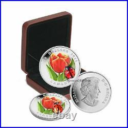 2011 Canada $20 Tulip With Venetian Glass Ladybug Fine Silver Coin (#1)