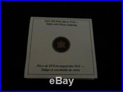 2011 Canadian Mint $20 Fine Silver Coin Tulip with Murano glass'Ladybug' NEW
