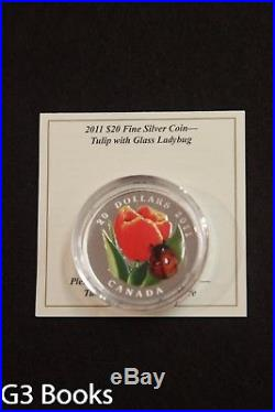 2011 Royal Canadian Mint $20 Fine Silver Coin Tulip with Ladybug, Murano Glass