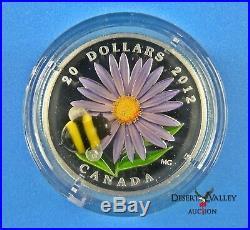 2012 $20 Fine Silver Coin ASTER & BUMBLE BEE Venetian Glass BOX & COA