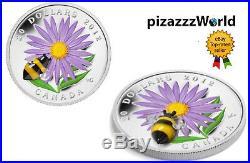 2012 Canada. 9999 Silver COIN Aster Bumble Bee Venetian Murano Glass 1oz RARE