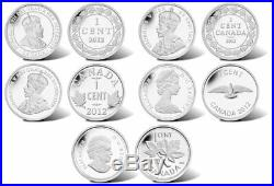 2012 Canada Farewell to the Penny 5 coin Fine Silver Set