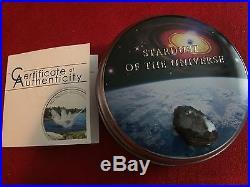 2012 Cook Islands Seymchan meteorite silver coin case and COA