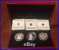 2012 Queen's Diamond Jubilee Set of 3 20$ Silver Coins/COA. Canada SWAROVSKI RCM