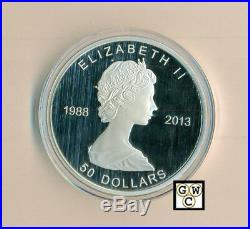 2013 5oz. Prf $50 25th Ann. Of the Silver Maple Leaf Fine Silver Coin(13306)OOAK
