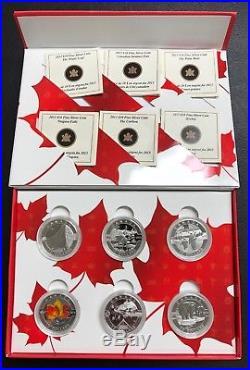2013 O Canada 6 Coin. 9999 Fine Silver Set Complete