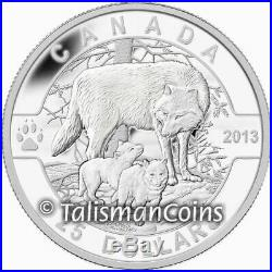 2013 O Canada Complete 5 Coin $25 Silver Proof Set Wolf Bear Orca in Wood Case