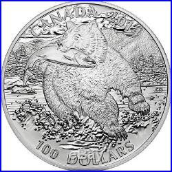 2014 $100 CANADA The Grizzly Bear, FINE. 9999 SILVER COIN (OGP/COA)