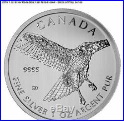2014-2015 Canada Birds of Prey Four 1 oz. 999 Silver Coin Set in Display Box