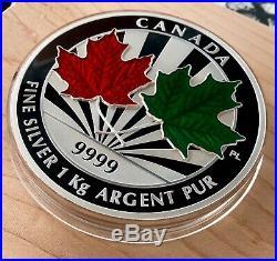 2014 Canada $250 Dollars 1 Kilo 9999 Silver Coin Maple Leaf Forever Enamelled