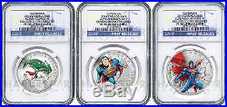 2014 Canada Superman 3-coin Silver Set Ngc Pf70 First Releases Only 22 Exist