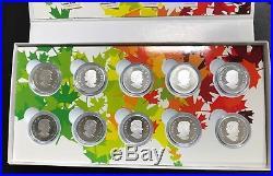 2014 O Canada 10 Coin. 9999 Fine Silver Set Complete