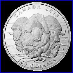2015 $100 CANADA Musk ox, FINE. 9999 SILVER COIN (OGP/COA)