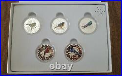 2015 $10 Colorful Songbirds of Canada Fine Silver 5 Coin Set with Music Box