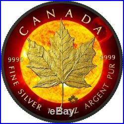 2015 1 Oz Silver $5 SOLAR FLARE MAPLE LEAF Coin, Ruthenium AND GOLD