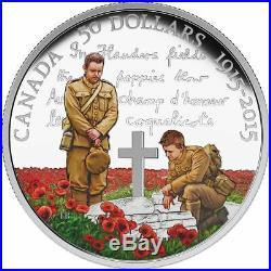 2015 Canada 100th Anniversary Flanders $50 Dollars 5 Oz. 9999 silver Color coin