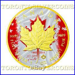 2015 Canada 1 oz Silver $5 Maple Patriotic Flag Anniversary Coin Mintage 500