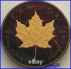 2015 Canada $5 Maple Leaf Lava Edition Gilded & Ruthenium 1 oz. 999 Silver Coin