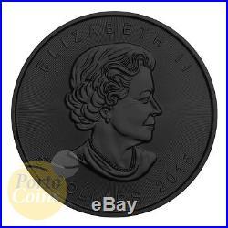 2015 Canada $5 SOLAR FLARE MAPLE Leaf 24k Gold & Ruthenium 1 Oz Silver Coin NEW