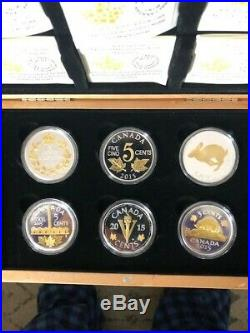 2015 Canada Legacy of the Canadian Nickel Gold Gilted Fine Silver 6-Coin Set