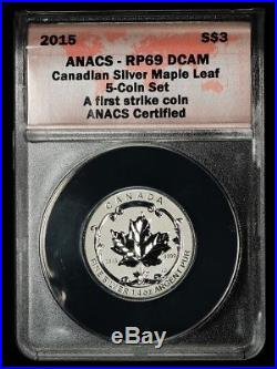 2015 Canada Silver Maple Leaf Reverse Proof 5 Coin Set $1-$5 ANACS RP69 DCAM, FS