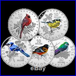 2015 Colorful Songbirds Birds of Canada 5 Coin $10 Silver Proof Set Musical Box