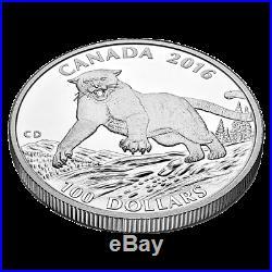 2016 $100 CANADA Cougar, FINE. 9999 SILVER COIN (OGP/COA)