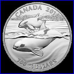 2016 $100 CANADA Orca Whale, FINE. 9999 SILVER COIN (OGP/COA)