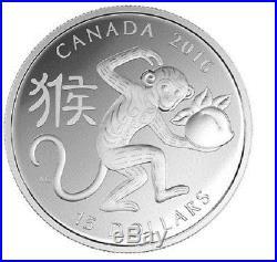 2016 $15 Canada Lunar Year of the Monkey 99.99% 1 oz Silver Proof Coin RCM